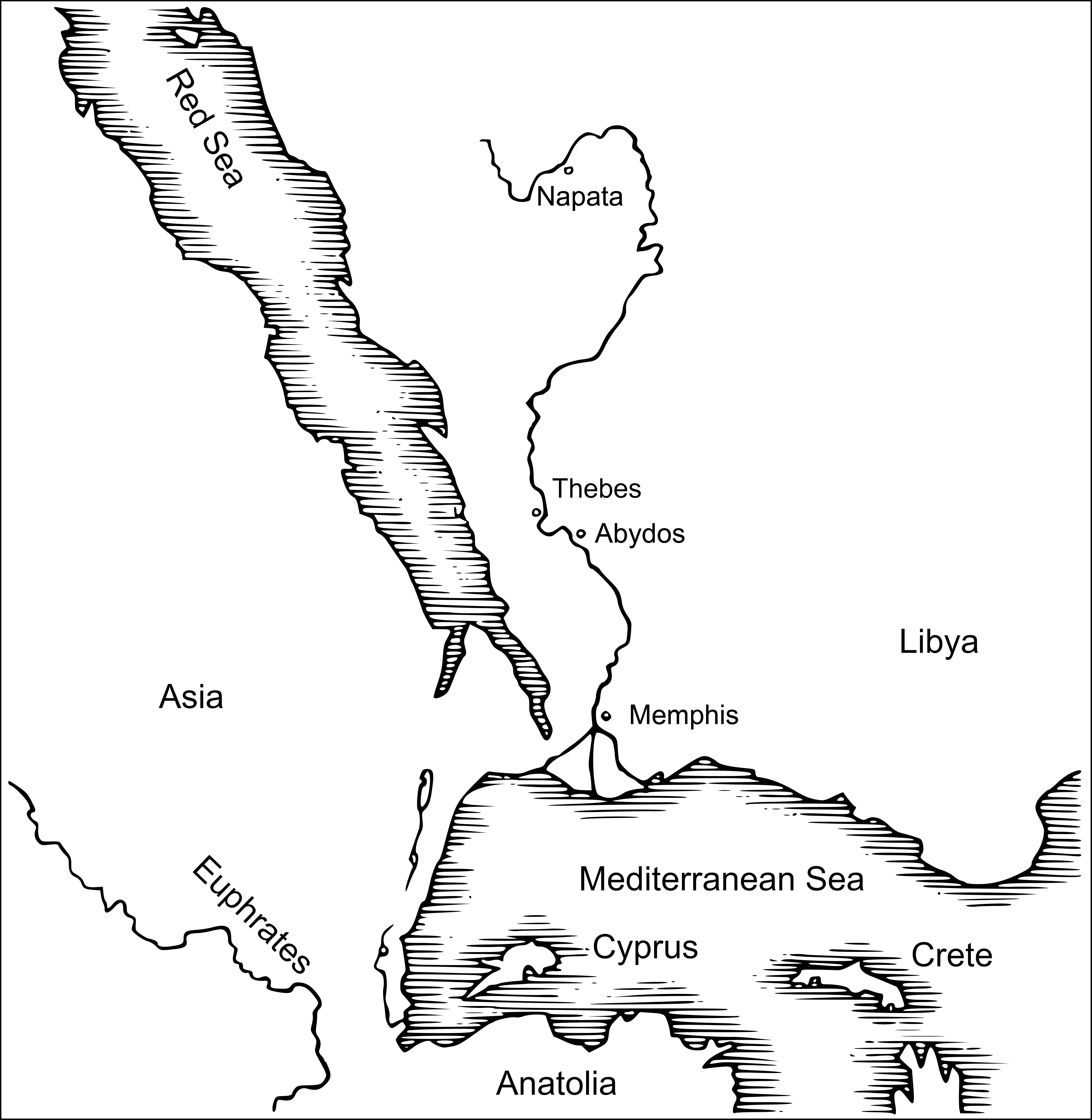 Karte Ägyptens - engl.